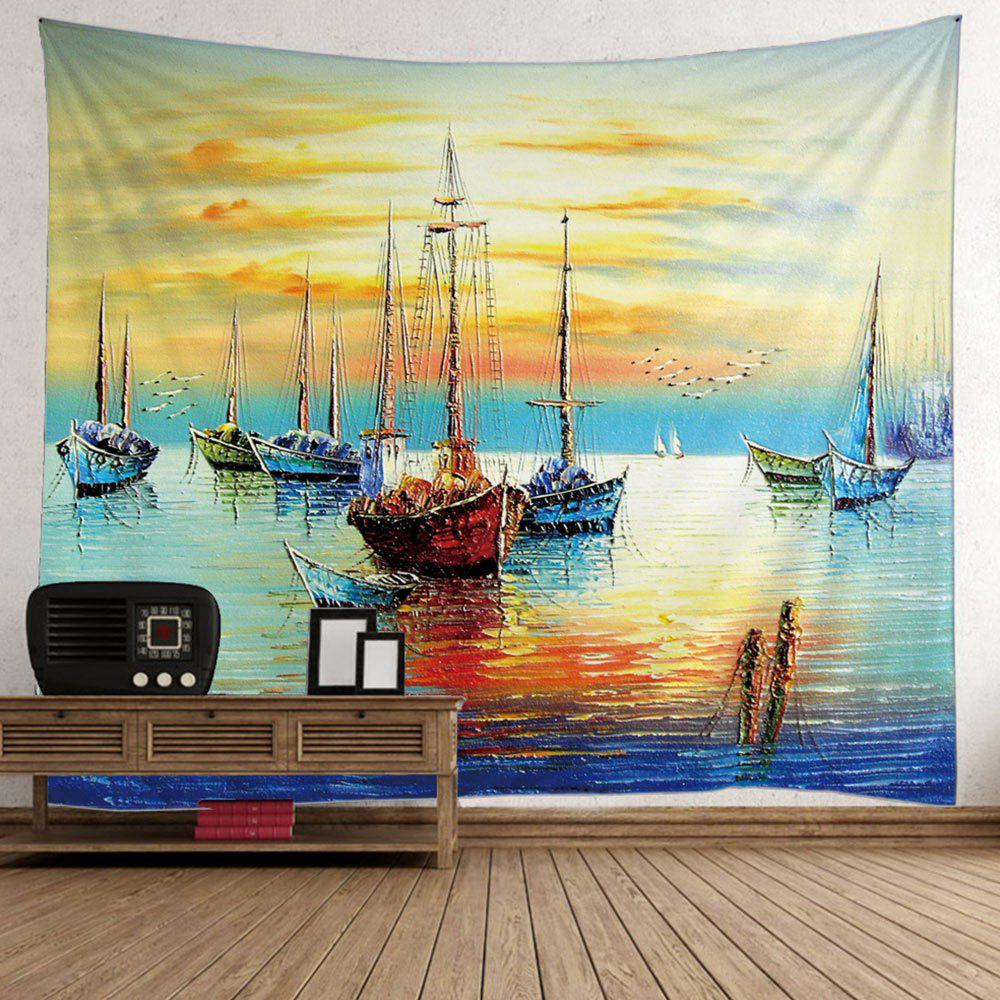 Image of Boat Sea Oil Painting Wall Tapestry