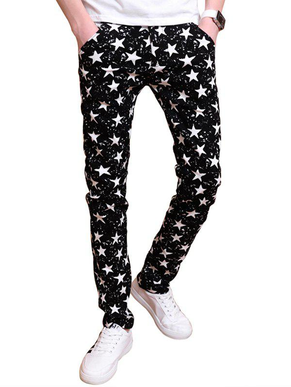 All Over Stars Pattern Zipper Fly Skinny Pants - BLACK 32
