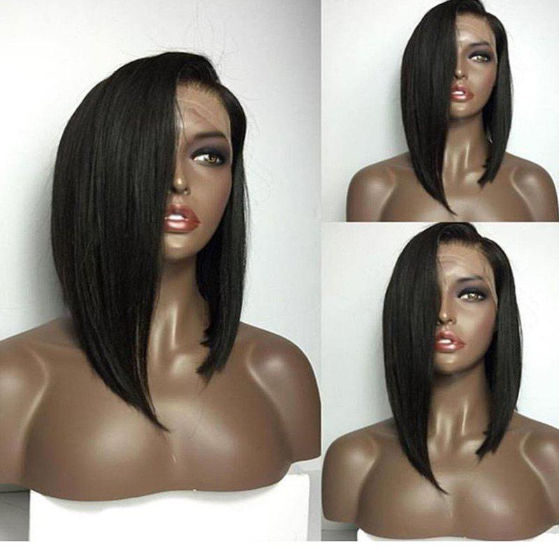 Medium Deep Side Part High Low Bob Straight Lace Front Human Hair Wig - NATURAL BLACK