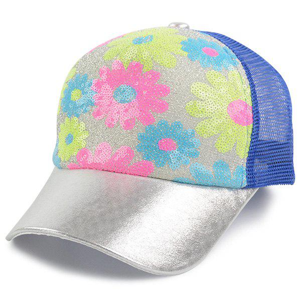 Mesh Spliced Flowers Pattern Sequin Baseball Cap - BLUE