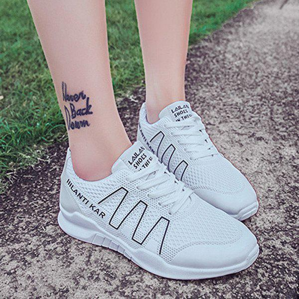 Lace Up Breathable Mesh Sneakers - BLACK 39