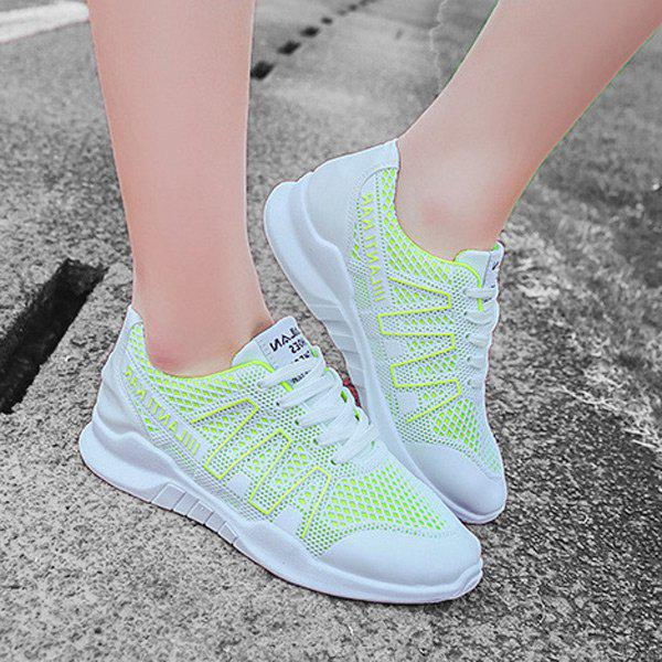 Lace Up Breathable Mesh Sneakers - GREEN 39