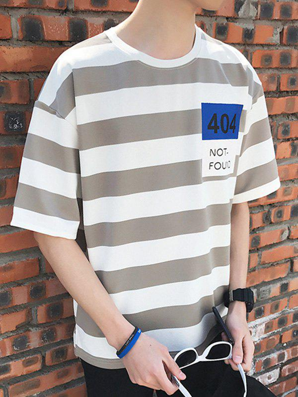 Drop Shoulder Sleeves Striped Graphic Pattern Tee