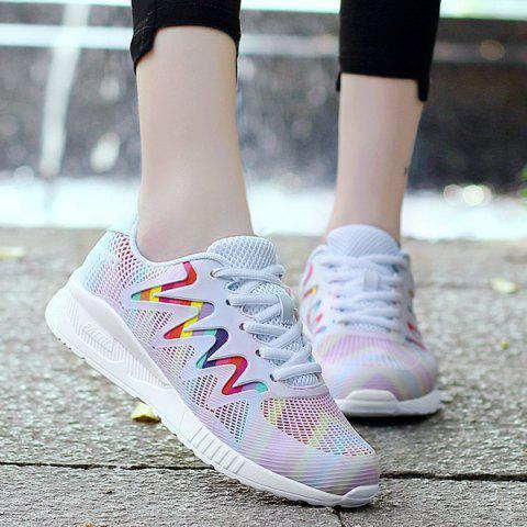 Striped Breathable Multicolor Athletic Shoes - WHITE 39