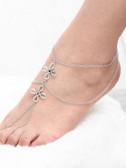 Chinese Knot Layered Beach Slave Anklet - SILVER