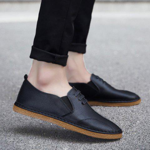 Elastic Band Faux Leather Casual Shoes - BLACK 42