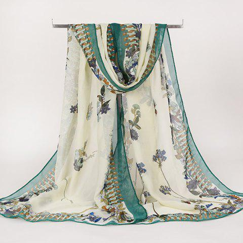 Lightsome Gossamer Retro Ethnic Floral Printed Scarf - GREEN