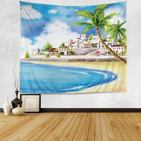 Wall Hanging Art Decor Cartoon Beach Print Tapestry - COLORMIX W79 INCH*L59 INCH