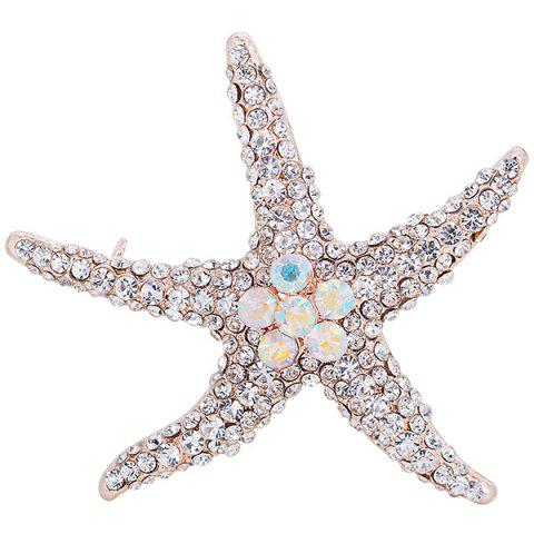 Rhinestone Inlaid Alloy Starfish Broosh Pin - SILVER