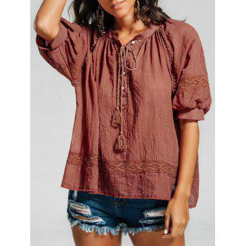 Half Button Lace Trim Tassel Casual Blouse