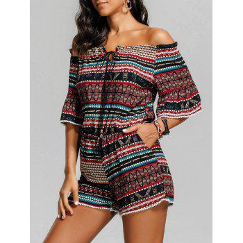 Off The Shoulder Beaded Tribal Print Romper