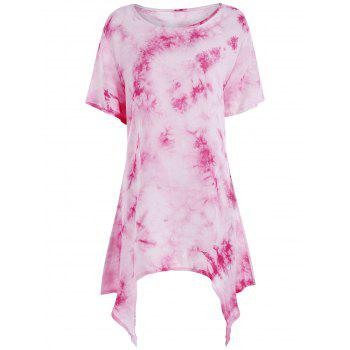 Tie Dye Asymmetrical Plus Size Tunic Top