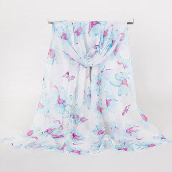 Long Gossamer Wash Painting Floral Pattern Scarf