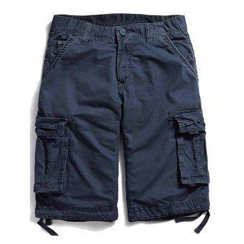 Zipper Fly Pockets Straight Leg Cargo Shorts
