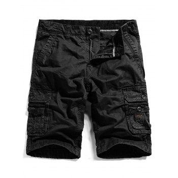 Zippper Fly Pockets Straight Cargo Shorts
