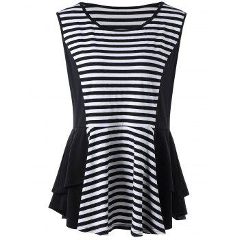 Striped Plus Size Tiered Peplum Top