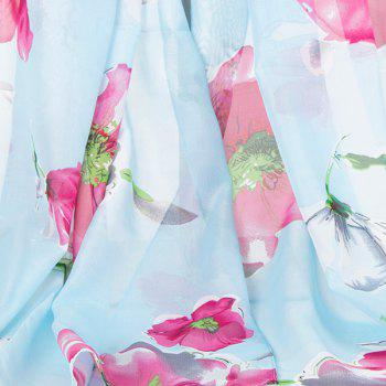 Long Watercolour Flowers Printing Gossamer Scarf - CLOUDY