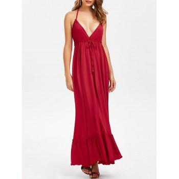 Halter Ruffle Drawstring Maxi Dress