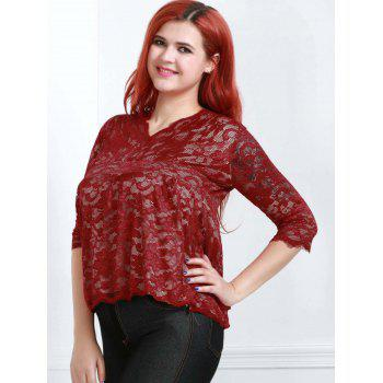 Stylish Half Sleeve V-Neck Plus Size Lace Women's Blouse - WINE RED 4XL