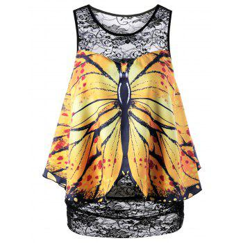 Butterfly Print Lace Sleeveless Blouse