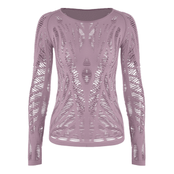Long Sleeve Sheer Ripped Sports T-shirt - DEEP PINK DEEP PINK