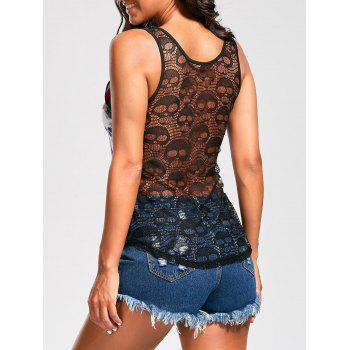 Skull Flower Tank Top with Openwork Lace Back