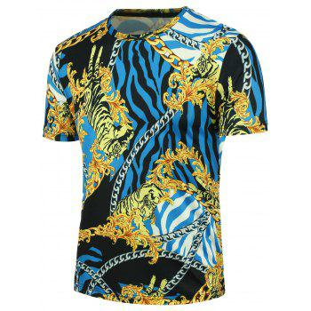3D Tiger Chain and Stripe Print T-shirt