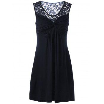 Twist Front Lace Trim Sleeveless Dress