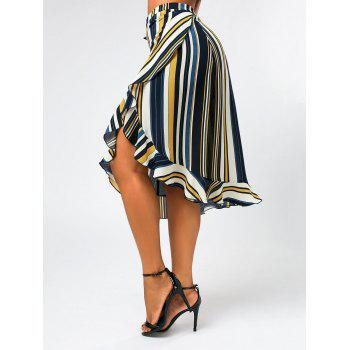 Stripe Print Midi Wrap Skirt with Ruffles
