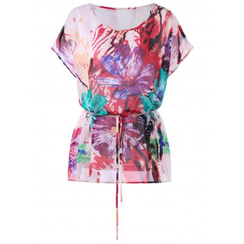 Belted Plus Size Watercolor Floral Print T-shirt