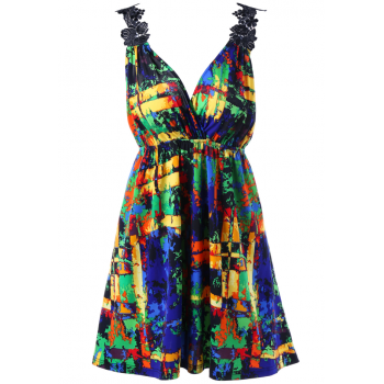 V Neck Colorful Print Plus Size Top