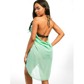 Chiffon Cover Up Dress with Beaded Rope Strap - LIGHT GREEN LIGHT GREEN
