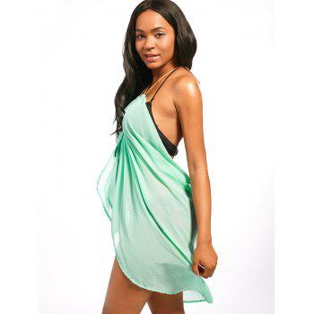 Chiffon Cover Up Dress with Beaded Rope Strap - LIGHT GREEN L