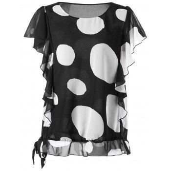 Plus Size Dotted Ruffled Blouson Top