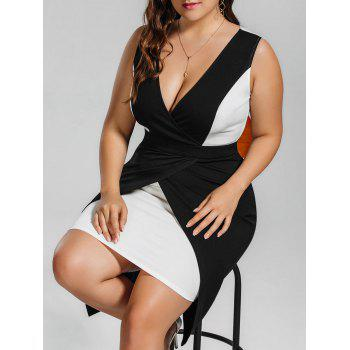 Plus Size Two Tone Surplice Bodycon Dress