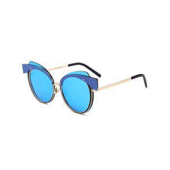 Metallic Spliced Cat Eye Reflective Frame Sunglasses