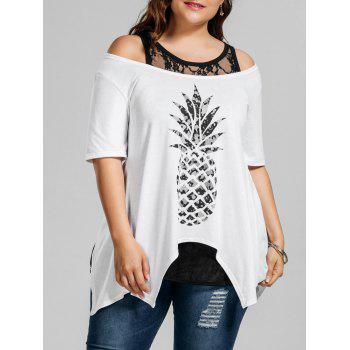 Plus Size Pineapple T-Shirt with Lace Tank Top
