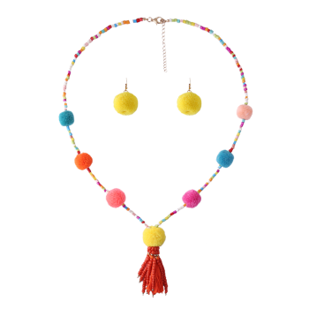 Fuzzy Ball Beaded Tassel Necklace and Earring Set