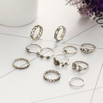 Flower Sun Moon Leaf Finger Ring Set -  SILVER
