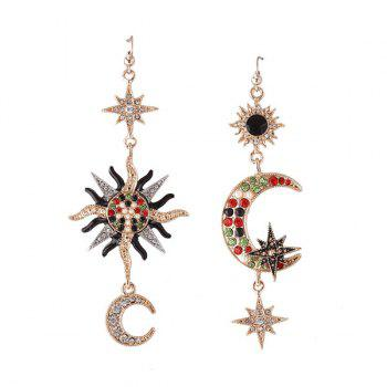 Rhinestone Moon Sun Star Hook Earrings