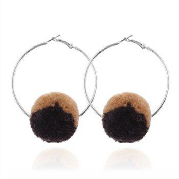 Circle Fuzzy Ball Hoop Earrings
