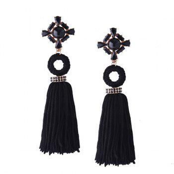 Vintage Faux Crystal Tassel Teardrop Earrings