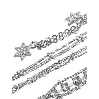 Rhinestone Star Beach Body Chain - Argent