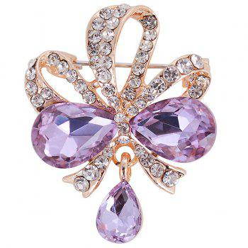 Hollow Out Design Teardrop Bowknot Rhinestone Brooch - PURPLE PURPLE