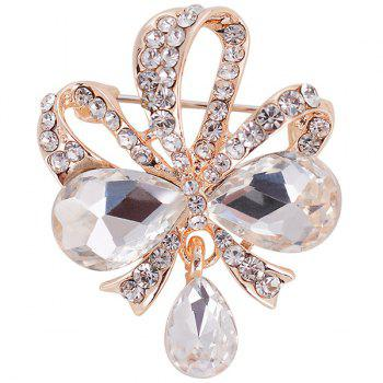 Hollow Out Design Teardrop Bowknot Rhinestone Brooch