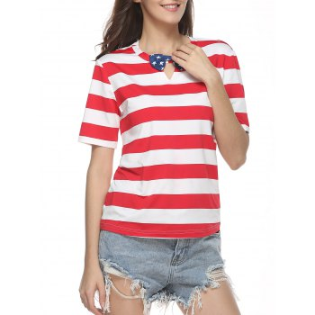 Keyhole Neck Striped T-Shirt with Bow Tie