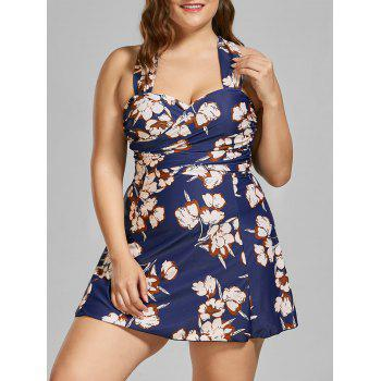 Floral Padded Underwire Plus Size Skirted Swimsuit
