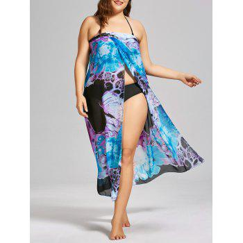 Convertible Printed Chiffon Plus Size Cover Up Dress