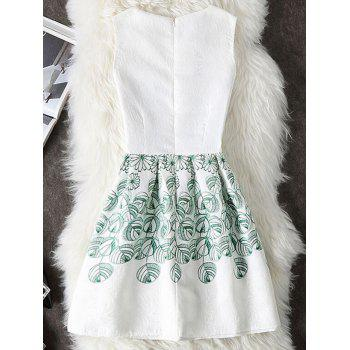 Floral and Leaf Print A Line Robe sans manches - Blanc L