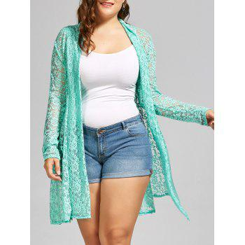 Shawl Collar Long Sleeve Lace Plus Size Kimono